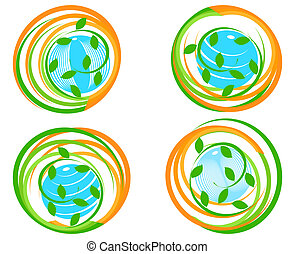 vector illustration of a set of a green icons with planet. Can be used as logo.