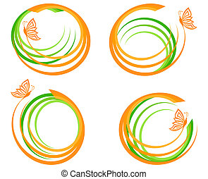 vector illustration of a set of a green waves with orange butterfly. Can be used as logo.