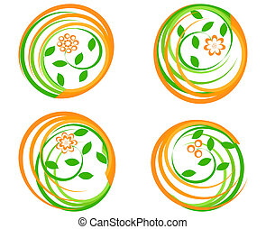 vector illustration of a set of a green icons with flower. Can be used as logo.