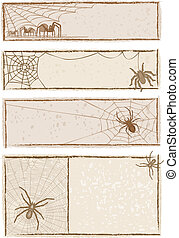 Spider Web Banners - Vector art in Illustrator 8. Each...