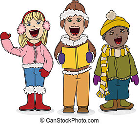 Kids Caroling - Vector art in Illustrator 8. Each child...