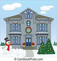 Holiday House Day - Vector art in Illustrator 8. Victorian...