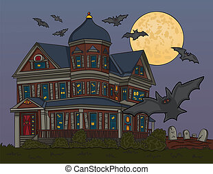 Haunted House - Vector art in Illustrator 8. Spooky house...