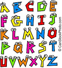 Funky Alphabet - Funny made up colourful letters of the...