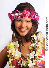 portrait of a Hawaiian girl with flower lei and a tropical...