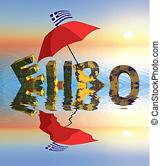 Euro crisis - Symbol for the current euro crisis starting...