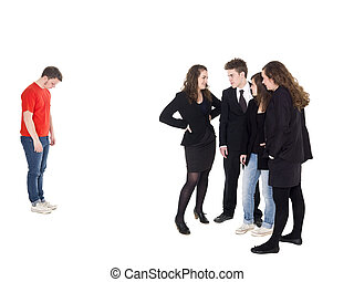 Young man rejected from the group isolated on white...