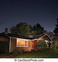 Family Home At Night - Family home at night underneath the...