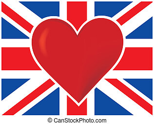 Heart British Flag - A British flag with a big read heart in...