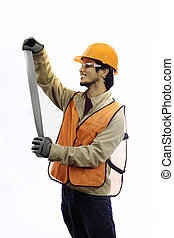 asian workman in hardhat worker with duct tape