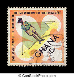 boy scout postage stamp - GHANA - CIRCA 1972. Vintage...
