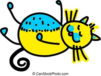 Sleepy Cat - Cute cartoon whimsical illustration of a cat...