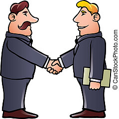 Business men shaking hands - Cartoon illustration of two...