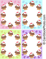 cupcake - three different cupcake illustrations