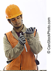 asian latino hard hat worker - man; asian; builder;...