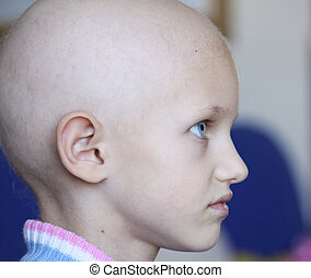 cancer child profile - profile of a beautiful girl suffering...
