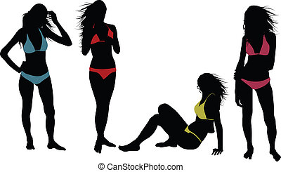 Swimwear - Silhouettes of sexy girls