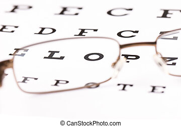 Eye Test - a pair of reading glasses sitting on a eye test...