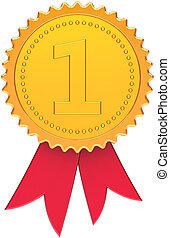 primero, lugar, campeón, premio, cinta