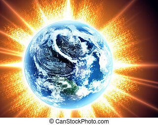 terra, sol, espaço, amanhecer