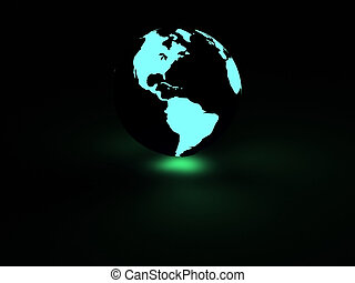 earth with neon glow - rendered earth with neon glow