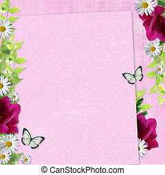Summer background with the fresia, daisy, butterflies -...