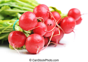 red radish - bunch of red radish with leaves, isolated on...
