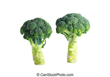 ?wo green broccolis are on  white surface