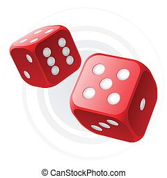 Red dices - Vector illustration of red dices in flight