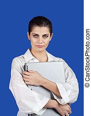 Woman embracing laptop