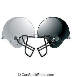 Football helmets - Vector illustration of American football...