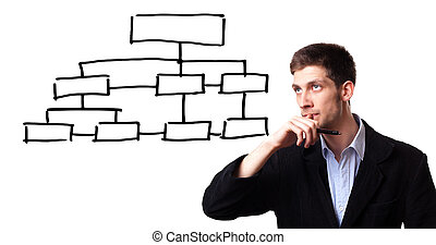 man analysing flowchart schema on the whiteboard - Young man...