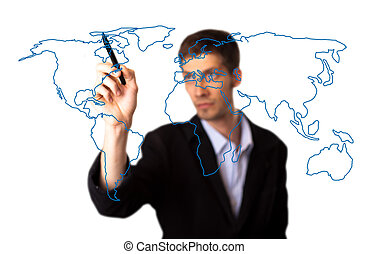 businessman drawing the world map in a whiteboard