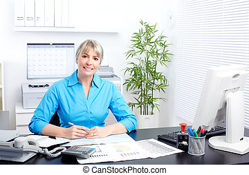 Business woman - Mature business woman working at modern...