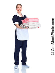 waitress woman - Smiling waitress woman. Isolated over white...
