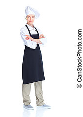 Chef woman Isolated over white background Gourmet