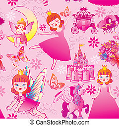Seamless princess pattern Vector art-illustration