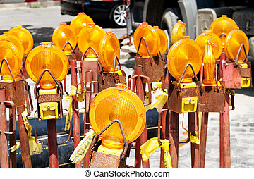 Lamps at a construction site - Many yellow lights to protect...