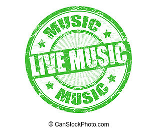 Live music stamp - Green grunge rubber stamp with text live...