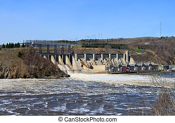 New Brunswick dam - Dam producing energy through water in...