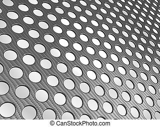 Carbon fibre surface perforated over studio light background
