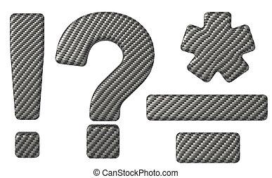 Carbon fiber font symbols isolated over white background