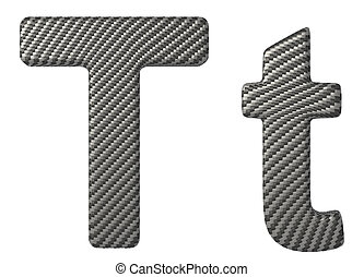 Carbon fiber font T lowercase and capital letters isolated...