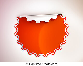 Round Red bent sticker or label over spot light background