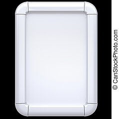 White Billboard or citylight isolated on black Front view