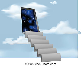 Stairway to the Stars - Illustration of stairs leading to a...