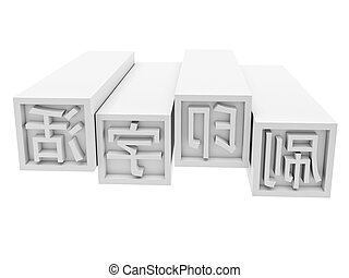 Movable Type Printing in chinese on white background