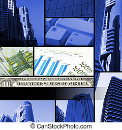 collage from financial elements with parts of skyscrapper