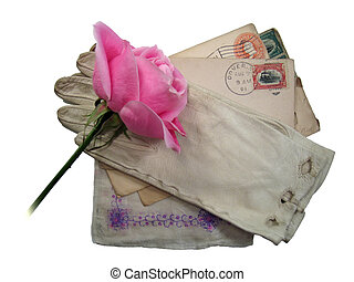 lost love - A pink rose and other vintage mementos isolated...