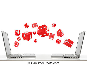 two laptops and gifts - two laptops are sharing red gift...